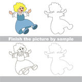 Blue doll. Drawing worksheet. Stock Photo
