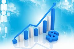 Blue Dollar And Graph Royalty Free Stock Image
