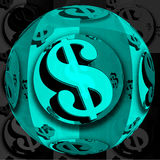 Blue Dollar ball Stock Photography