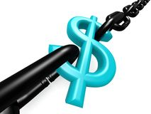 Blue dollar and chain Royalty Free Stock Photography