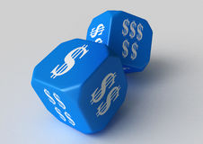 Blue Dollar labeled Dice Stock Photos