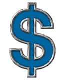 Blue Dollar Sign in Chrome 12 inches with paths Stock Image