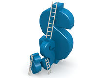 Blue dollar sign with ladder. 3D rendering Royalty Free Stock Image