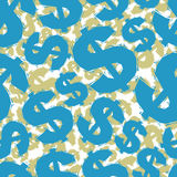 Blue dollar signs seamless pattern, geometric contemporary style Royalty Free Stock Photography