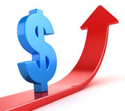 Blue Dollar Symbol on Red Arrow. This is a 3d Rendered Computer Generated Image.  on White Royalty Free Stock Photo