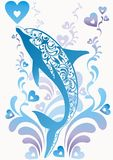 Blue dolphin with ornamental elements. Blue ornamental  dolphin with colorful flourish elements and decorative hearts on background Royalty Free Stock Images