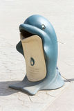 Blue dolphin trash can Royalty Free Stock Image