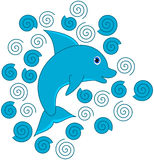 A blue dolphin with waves Stock Images