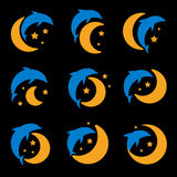 Blue dolphin, yellow moon and starry sky logo set on black background. Children night light, sleep vector illustration. Blue dolphin, yellow moon and starry sky Royalty Free Stock Photo