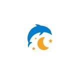 Blue dolphin, yellow moon and starry sky logo on white background. Children night light, sleep vector illustration. Blue dolphin, yellow moon and starry sky Stock Photos