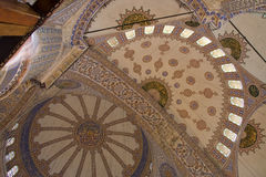 Blue dome. Istanbul's Blue Mosque seen from the floor of the central dome, Turkey. prayer, building, religion, Muhammad, tourism, guide, old, Muslim, mosque Royalty Free Stock Photography