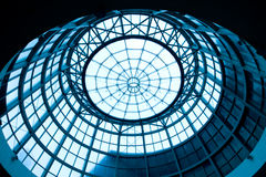 Blue dome background. Steel structure shaped like a dome Stock Image