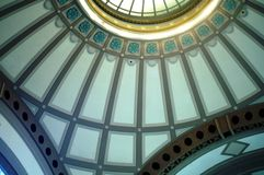 Blue Dome. Blue designed dome in the ceiling of a foyer in a public building Stock Photos