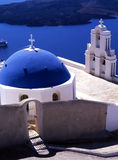 Blue dome. The blue dome of a church on the Greek island of Santorini royalty free stock photo