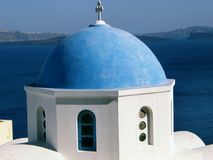 Blue dome. A famous blue church dome in Santorini, Greece royalty free stock photo