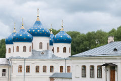 Blue dome of ancient Russian Orthodox Church Stock Photography