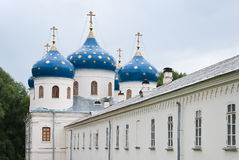 Blue dome of ancient Russian Orthodox Church Stock Photo