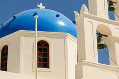 Blue dome chapel, santorini. Blue dome chapel santorini,greece Stock Image