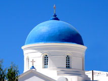 Blue dome church - iOS - Cyclades Stock Photography