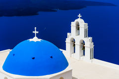 Blue Dome Church. The most famous blue dome church on santorini island, greece stock image