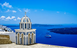 Blue Dome Church. The most famous blue dome church on santorini island, greece royalty free stock photography