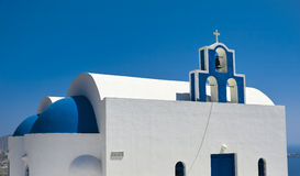 Blue Dome Church. The most famous blue dome church on santorini island, greece stock images