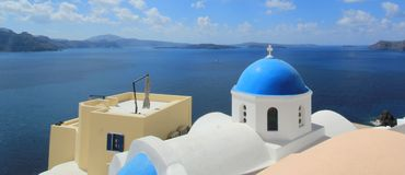 Blue dome of a church, Oia, Santorini, Greece Stock Photo