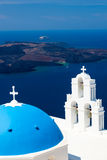 Blue Dome Church Santorini Greece Royalty Free Stock Images