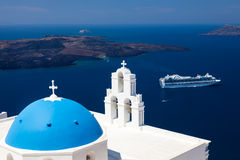 Blue Dome Church Santorini Greece Royalty Free Stock Photo