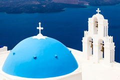 Blue Dome Church Santorini Greece Stock Photos