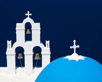 Blue Dome Church Santorini Greece Stock Images