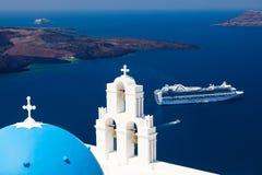 Blue Dome Church Santorini Greece Royalty Free Stock Photos