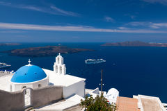 Blue Dome Church Santorini Greece Stock Photo