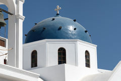 Blue dome of church on Santorini island, Greece Royalty Free Stock Images