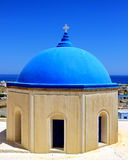 Blue Dome Church. In Santorini island, Greece stock photography