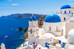 Blue dome churches in Oia Stock Photography