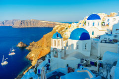 Blue dome churches in Oia Stock Images