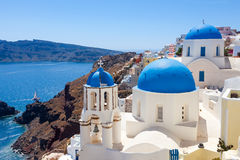 Blue Dome Churches Oia Santorini Stock Photography