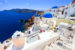 Blue Dome Churches Oia Santorini Stock Photos