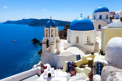 Blue Dome Churches Oia Santorini Royalty Free Stock Image
