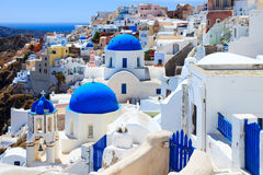 Blue Dome Churches Oia Santorini Stock Images