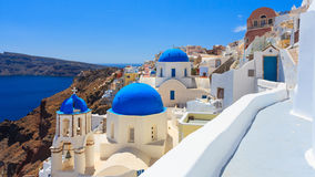 Blue Dome Churches Oia Santorini Royalty Free Stock Photos