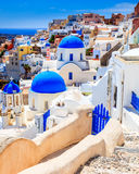 Blue Dome Churches Oia Santorini Royalty Free Stock Photography