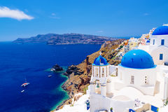 Blue dome churches in Oia Royalty Free Stock Photography