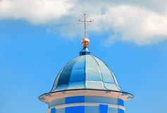 Blue dome with cross. On the top stock image