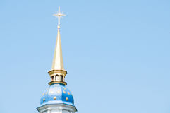 Blue dome with gold stars and a cross Stock Photography