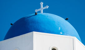Blue dome of a Greek Orthodox Church Stock Images