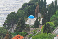 Blue dome. At luxury home in Dubrovnik stock photos