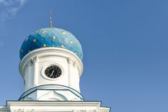 Blue dome of an orthodox temple against a blue sky. Bottom view Royalty Free Stock Image