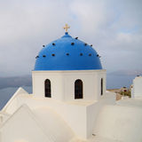 Blue dome of Santorini Stock Photo